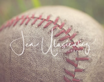 Vintage Baseball in Grass Sports Photography Print, macro, man cave, boys room, nursery, still life