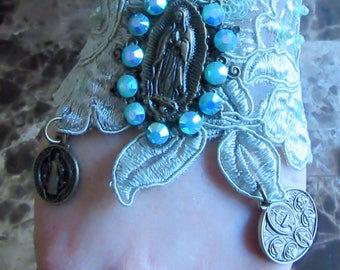 Catholic Virgin Mary OL of Guadalupe, St. Benedict, Our Lady of Miraculous Medal Religious  Lace Bracelet, Virgen de Guadalupe, San Benito