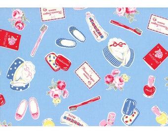 Lecien Maison Fabric - Flower Sugar Maison Fall 2016 Fabric - Toiletries Vanity Toothbrush Blue - Red Blue Pink Cosmetics Fabric - Oxford
