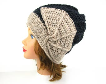 Crochet Cloche Hat - Women's Hat - 1920s Cloche Hat - Flapper Hat - Natural Mix Mercury Hat - Wool Beanie - Crochet Accessories