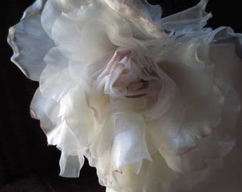 Ivory & Pink Rose Grand Millinery Rose for Couture, Bridal MF