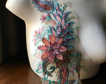 SECOND - Aqua, Coral & Pink 3D Lace Applique #1 with Rhinestones for Lyrical Dance, Ballroom Dance, Bollywood Costumes, Garments F