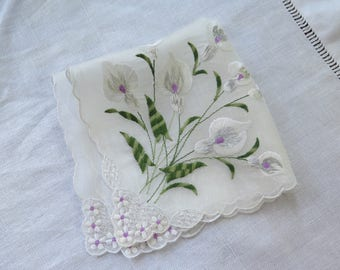 Vintage Embroidered Handkerchief White Cotton Organza with Call Lily Bouquet Green Lilac