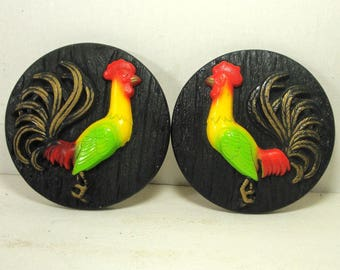 Chinese Year of the Rooster, 2 Kitchen Wall Hangings, Chalkware, Black Red Yellow Green,  Barnyard Birds Wall Plaques,  1970s KITSCH Decor