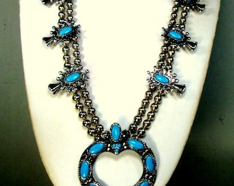 Vintage Squash Blossom Necklace,  Faux Turquoise and Silver, Southwestern Native American Classic Motif