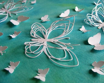 Watercoloured Background with 3D White Butterflies / Butterfly Wall Art / Teal, Green, Blue / 8x10 inches / Ready to Ship