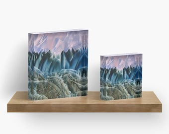 Teal Landscape or ANY of My ART on Acrylic Block / Shelf, Mantle, Desk Art, Paperweight / Small Space Art / Made to Order in 2 Sizes