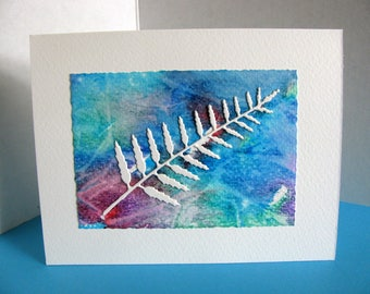 Delicate Fern on Watercolour Painting on Creamy Ivory Card / Turquoise, Aqua, Violet / One of a Kind / A2 Size / Ready to Ship