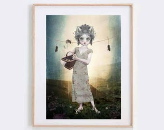 Anthro Art Print - Cat Girl And Mice - Digital/Mixed Media Art - A4 Art Print - Hung Out To Dry