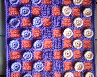 CUSTOM LISTING Handmade Crocheted Checkerboard with Checkers Game