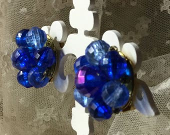 Brilliant Bright Signed Hong Kong Cobalt Royal Blue Clustered Bead Earrings Clip On 1950's 1960's Wired Beads Round Circular Gold Tone