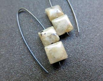 hypoallergenic jewelry. labradorite earrings in black niobium. splurge.