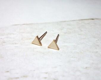 Matte Rose Gold Triangle Stud Earrings, Triangle Earrings