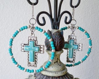 Turquoise and silver beaded hoop earrings - Cross of turquoise & silver - Boho chic - Bohemian jewelry - bycat