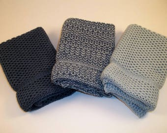 Dishcloths Knit in Cotton in Cape Blue and Steel, Knit Dish Cloth, Knit Wash Cloth, Washcloth, Blue Dishcloth