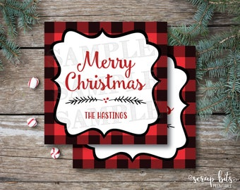 Personalized Printable Christmas Tags, Printable Buffalo Plaid Christmas Labels, Buffalo Check Tags, Rustic Christmas Labels