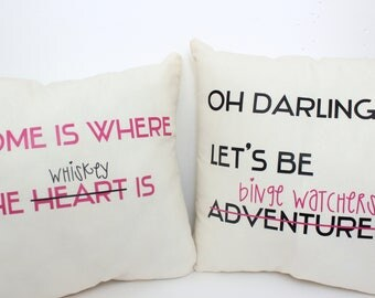 Whiskey and Binge Watching Throw Pillows - Funny Throw Pillows - Made to Order - Pink and Black or Custom Colors on Natural Cotton
