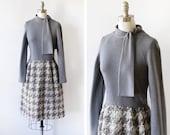 60s gray wool dress, vintage 1960s dress, long sleeve chunky plaid skirt, mid century fashion, small s