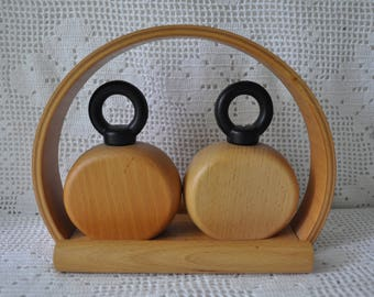 Vintage Danish Modern Wood Salt and Pepper Shakers With Stand/Vintage 1980s/Nissan Denmark Wooden Table Accessory
