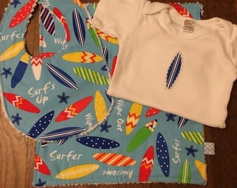 Surf's Up --- Blue Surfboard Baby Gift set - includes bib, bodysuit, burp cloth - available in size newborn - 24 months