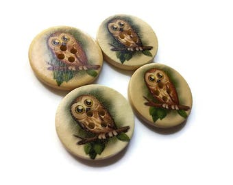 4 Owl wooden sewing buttons 30mm