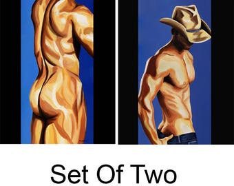 Erotic nude, gay art, figure painting, cowboy art, male figure painting, tasteful nude, male painting, sensual bedroom, Set of Two Prints