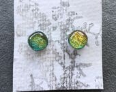 Blue Gold Dichroic Glass Post Earrings