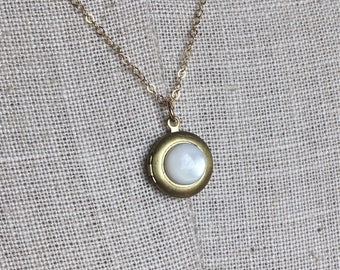 Moonstone and 14k Gold Essential Oil Diffuser Necklace - Unique Aromatherapy Oils - Brass Locket Charm - Moon Stone Crystal Chain Jewelry