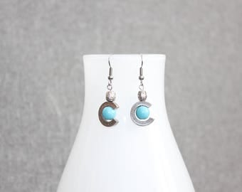 boucles d'oreilles étain, turquoise, cercle, géométrique, , bijoux mode,mode jewelry, earrings,gift, bal, perle, silver, round, cercle