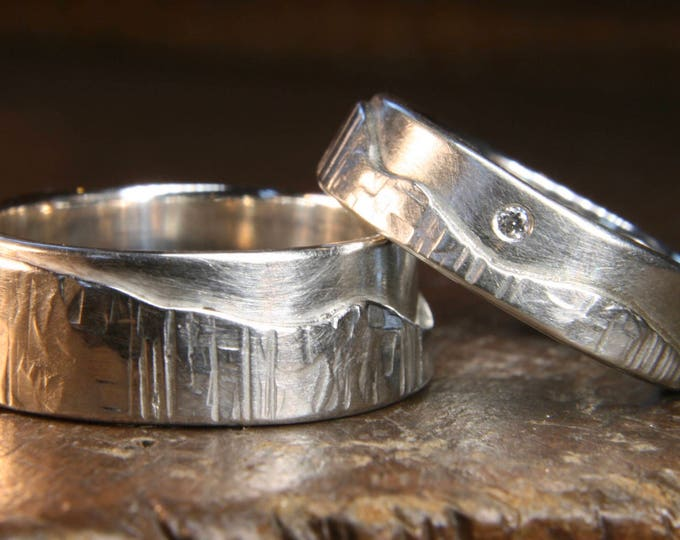 "Set of Walk On The Hills ""Multi-Textured"" hammered wedding rings."