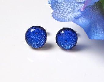 Blue Fused Glass Stud Earrings - Blue Glass Earrings - Earrings for Women -  Dichroic Glass Studs - ES 677