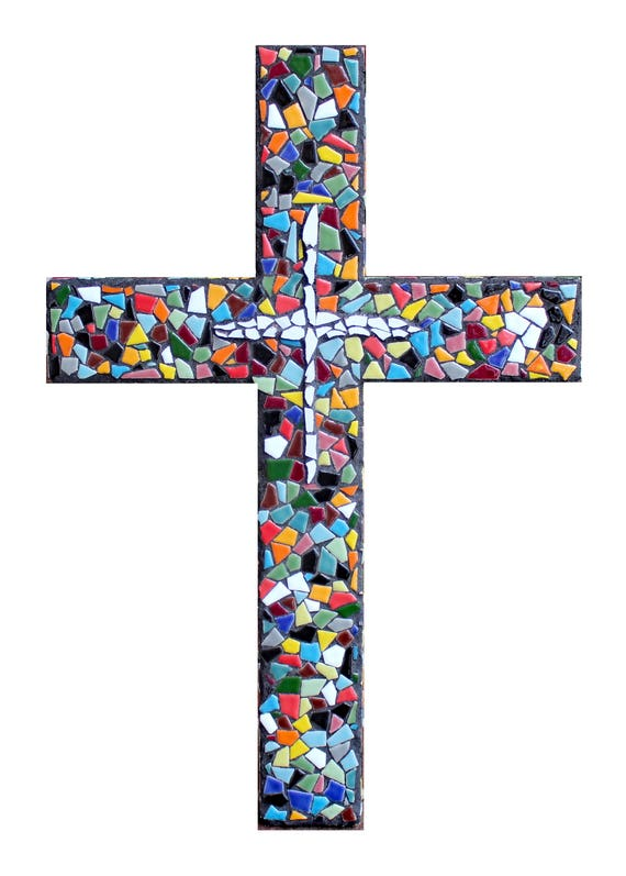 Large Ceramic Tile Mosaic Wall Cross Ready to Ship