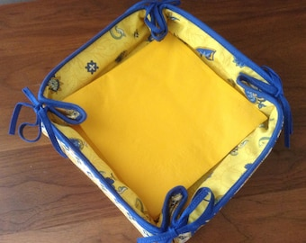 Vintage Reversible French Country Bread Basket, Napkin Basket, Muffin Basket, Provence, Blue and Yellow