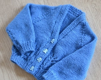0 - 3  Months Baby Girls Bluebell Hand knitted Cardigan