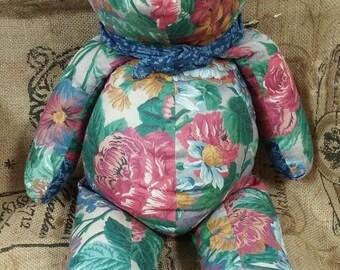 on sale floral fabric teddy bear
