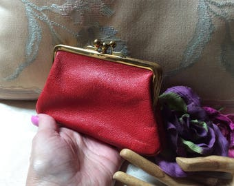 Vintage red leather double sided coin purse, kiss lock red leather coin pouch, mini coin purse, mini coin purse in larger coin purse England