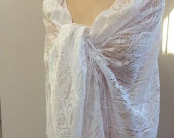 Vintage Oversized White Fringed Shawl Lace Look Shoulder Wrap Wedding