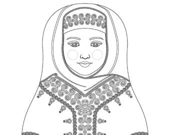 Saudi Matryoshka Coloring Sheet Printable file