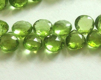 RESERVED. 13pcs PERIDOT Faceted Heart Briolettes,  2 Pairs and 9 Focals-  6-7mm,