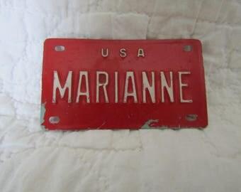 Vintage Bike Name Plate Marianne