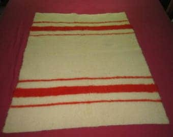 Vintage 1930s/40s Sweet Little Wool Red Striped 32x40 Crib Blanket as found