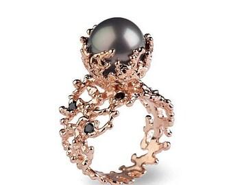 SALE 20% Off - CORAL Tahitian Pearl Ring, Tahitian Pearl Engagement Ring, Black Diamond Engagement Ring, Rose Gold Engagement Ring, Black Di