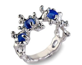 SALE 20% Off - BETWEEN The SEAWEEDS 14k White Gold Blue Sapphire Ring, Blue Sapphire Engagement Ring, 14k White Gold Ring, Unique Gold Ring,