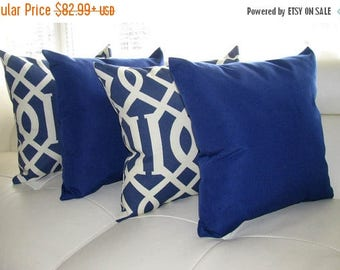 Blue Outdoor Throw Pillow  - Kirkwood Admiral and Solar Admiral Outdoor Throw Pillow - 4 Pack Free Shipping