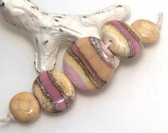 Plum Pink and Ivory Organic Lampwork Glass Bead Set