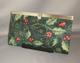 Wallet - DIVA Wallet - Clutch Wallet - Holly - Berries - Christmas - Antique Brass