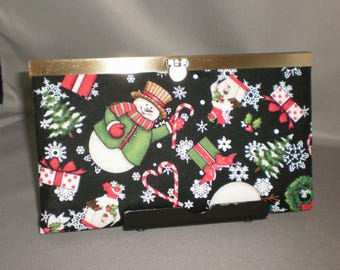Wallet - DIVA Wallet - Clutch Wallet - Snowman - Candy Cane - Snowflake - Christmas - Antique Brass