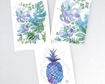 Green monstera card, Pineapple card, Plant jungle, Watercolor card, Blue pineapple, Green stationery, Cute stationery, Green card, Plant art