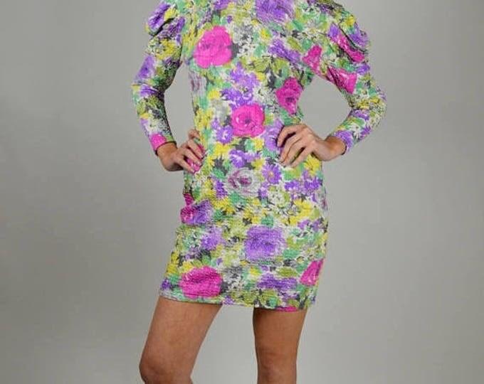 sale Vintage Dress, 80 Dress, Janine Designer Dress, Floral Dress, Mini Dress, Short Dress, Open Back Dress, Party Dress, Cocktail Dress,