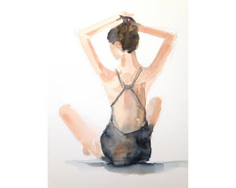 original watercolor painting - woman sitting wearing a swimming costume